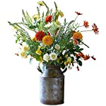 MARJON-FlowersArtificial-Orange-Red-White-Marigold-Flower-Arrangement-Vase-Centrepiece-Plant-Realistic