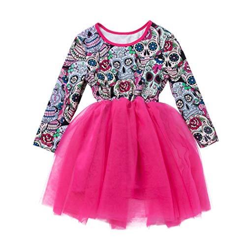 Coper New Halloween Dress, Little Girls Cartoon Skull Printed Long Sleeve Princess Dress (Hot Pink, 5T) -