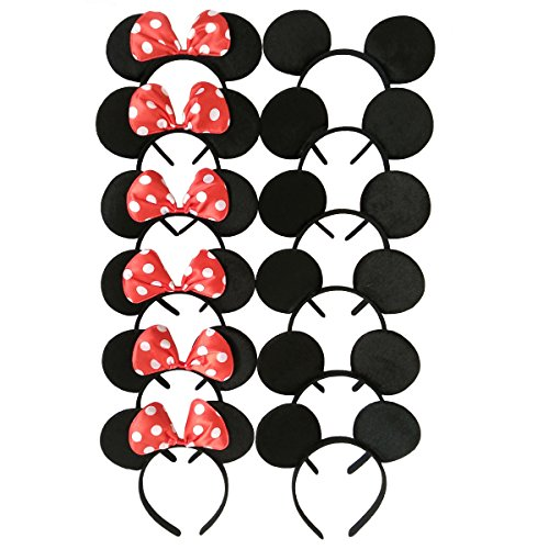 CHuangQi Mouse Ears Solid Black and Red Bow Headband for Boys and Girls Birthday Party Celebration or Event]()