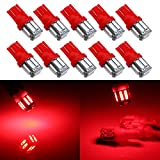 Grandview 350 Lumens Red T10 194 168 921 W5W 7014 10-SMD LED Interior Lights Bulb Car Replacement Lights Truck License Plate Front Rear Sidemarker Light Dome Map LED Bulbs 12V DC 10-Pack