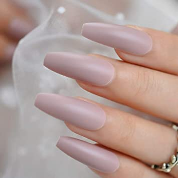 Amazon Com Coolnail 24pcs Soft Pink Purple Matte Ballerina False Nails Extra Long Frosted Coffin Flat Press On Fake Nails Salon Party Glue On Wear Beauty