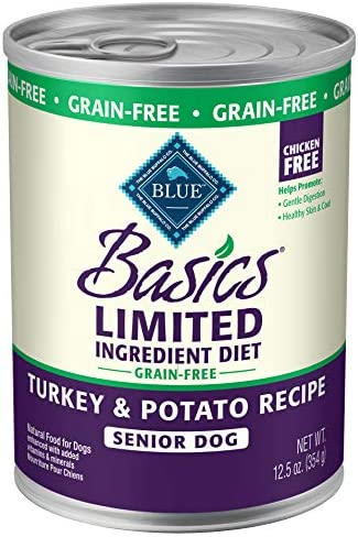 Blue Buffalo Blue Basics Grain-Free Turkey Potato Recipe Senior Wet Dog Food