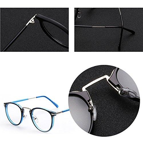 Rondes Lunettes Métal à Transparentes Nerd Bleu XFentech en Unisexe Retro Lunettes Noir tTwtq