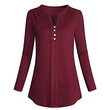 400e19d0b4bd Missli Shirt Women s Plus Size Long Sleeve Solid Color Botton Up T-Shirt  Blouse Tunic Tops at Amazon Women s Clothing store