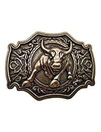 Cowboy Belt Buckle Western Brass Bull Buckles