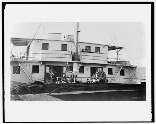 Photo: Howard M Hanna,cabin,storm,cargo ships,boats,vessels,Lake Huron,Michigan,MI,1913