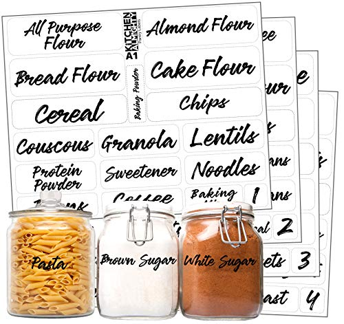 (Kitchen Pantry Food Organization Clear Labels: 85 Classy Gloss Artistic Preprinted Water Resistant Label Set to Organize Storage Containers, Jars & Canisters w/Extra Write-on)