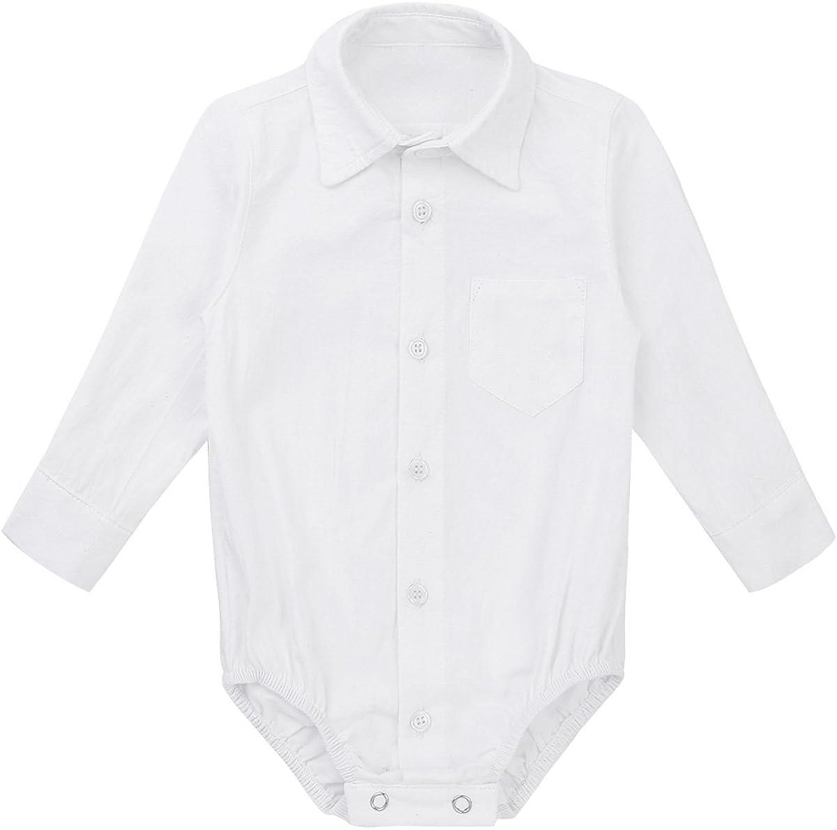 Freebily Infant Baby Boy Long//Short Sleeve Formal Dress Shirt Toddler Romper Bodysuit Wedding Baptism Outfits