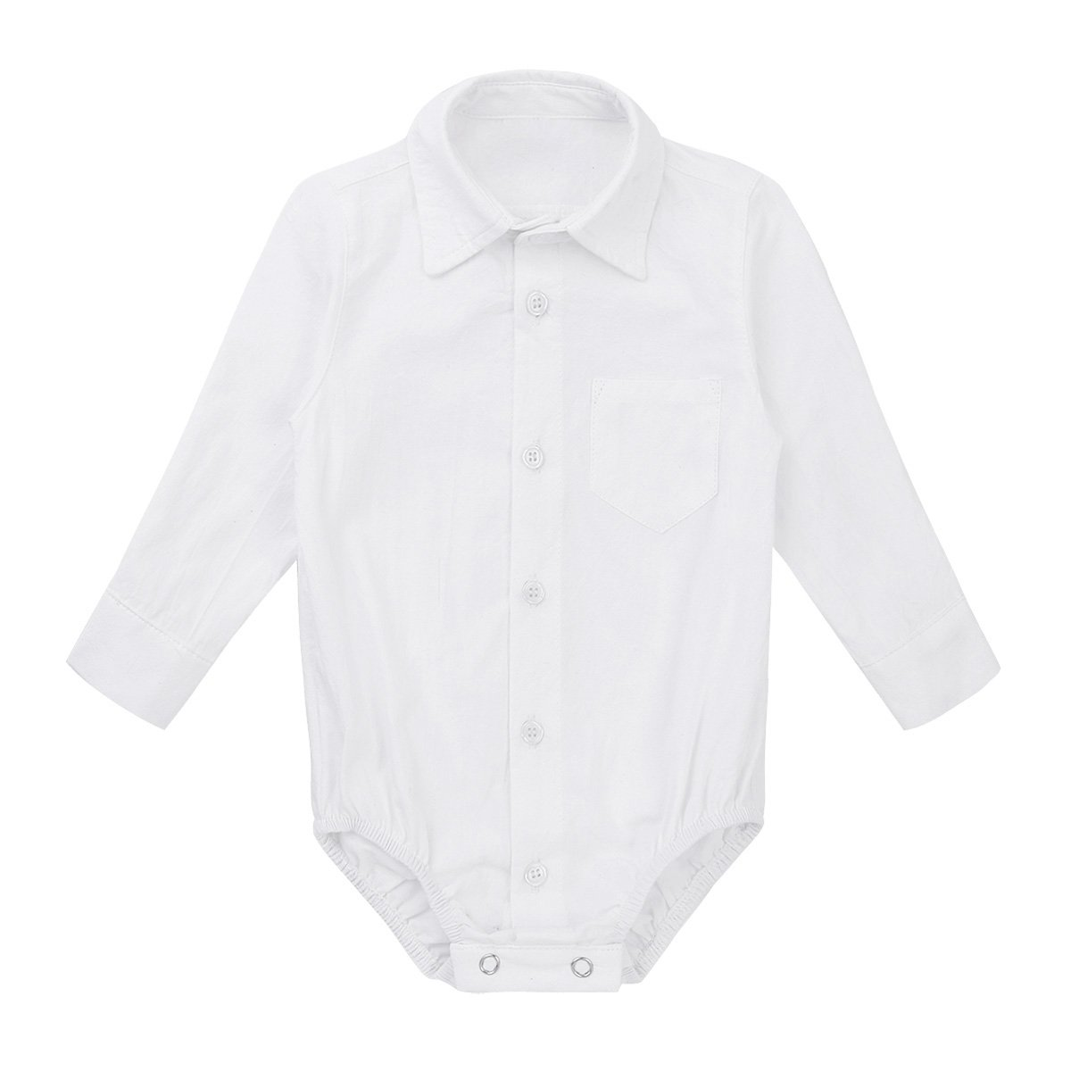Freebily Infant Baby Boy Long/Short Sleeve Formal Dress Shirt Toddler Romper Bodysuit Wedding Baptism Outfits