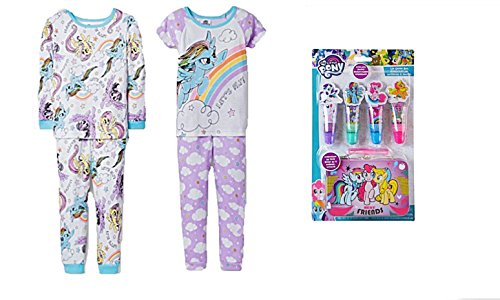 My Little Pony Rainbow Dash Let's Fly 4 Piece Mix & Match Pajama Set Plus Lip Glosswith Collectible Tin (5T)