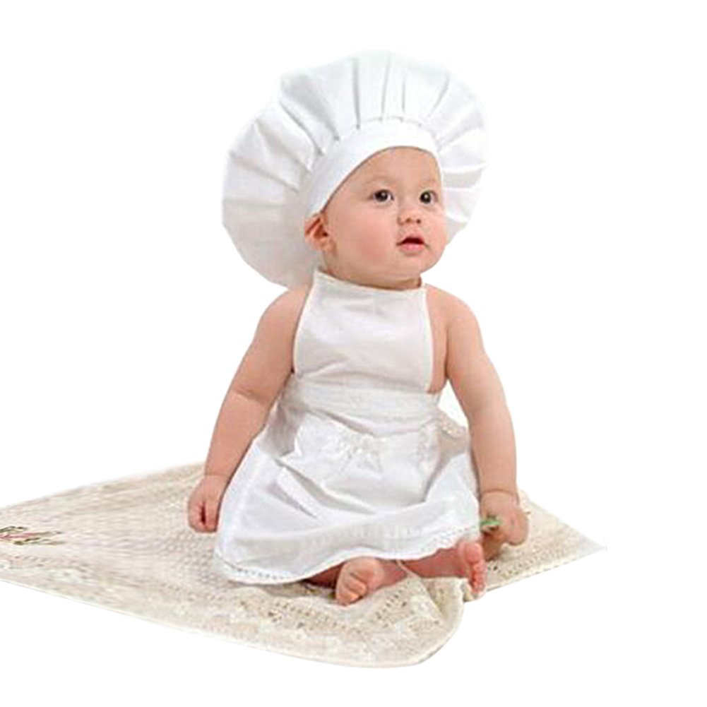 CHIC-CHIC Baby Koch Kostüm 1*Hut +1*Koch Schürze Küchechef Chefmütze Küchenchefmütze Neugeborene Kinder Anzug prop
