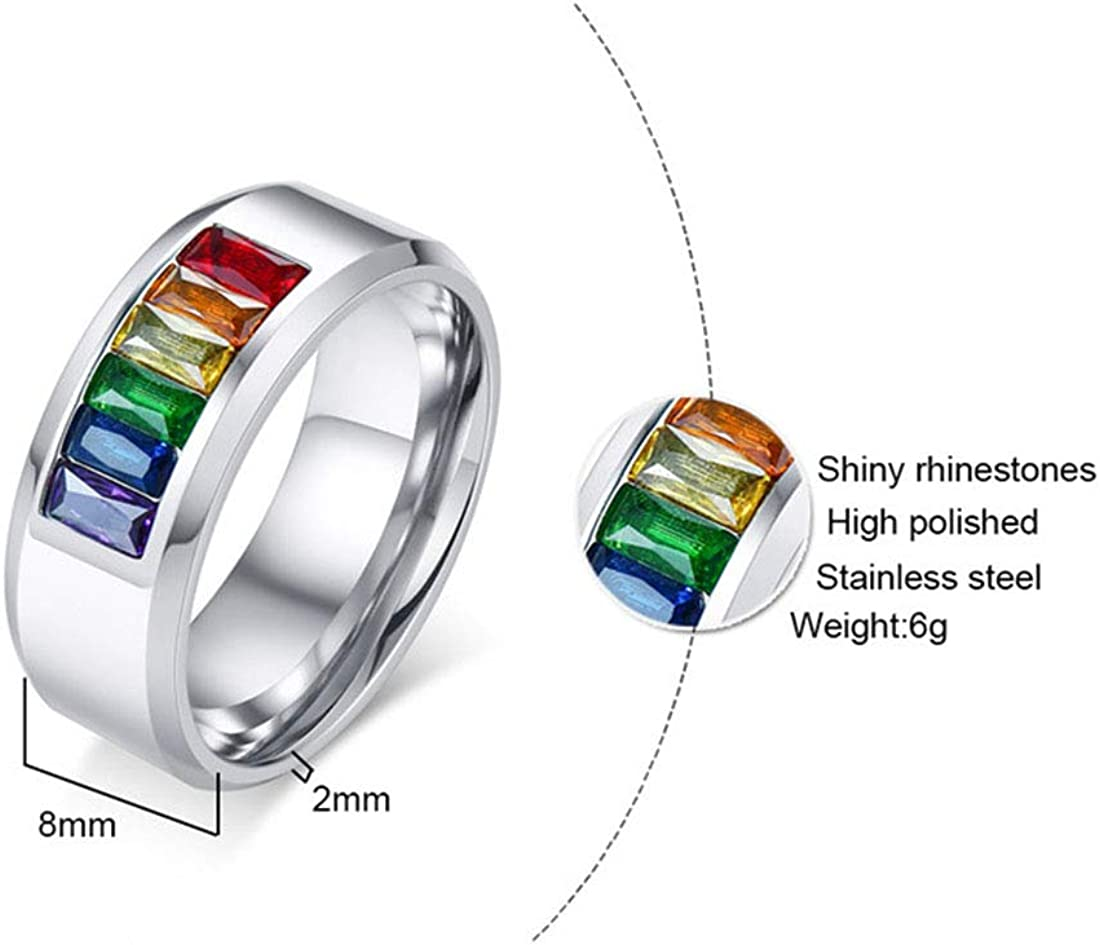 FOXI YOUTH Lovers Surgical Steel LGBT Gay Pride Lesbian Rainbow Colorful CZ Stone Inlay Band Ring Promise Wedding Engagement Rings:Silver-13#