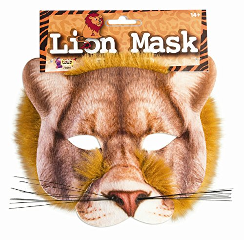 Adult Lion Mask (Lion Mask 3D Screen Print Realistic Look Soft Face Mask Fun Fur Adult Or Child)