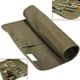 ZJchao Artist Draw Pen Watercolor Draw Pen 17''x14'' Roll Up Canvas Oil Paint Brush Bag Cases 22 Slots Holder