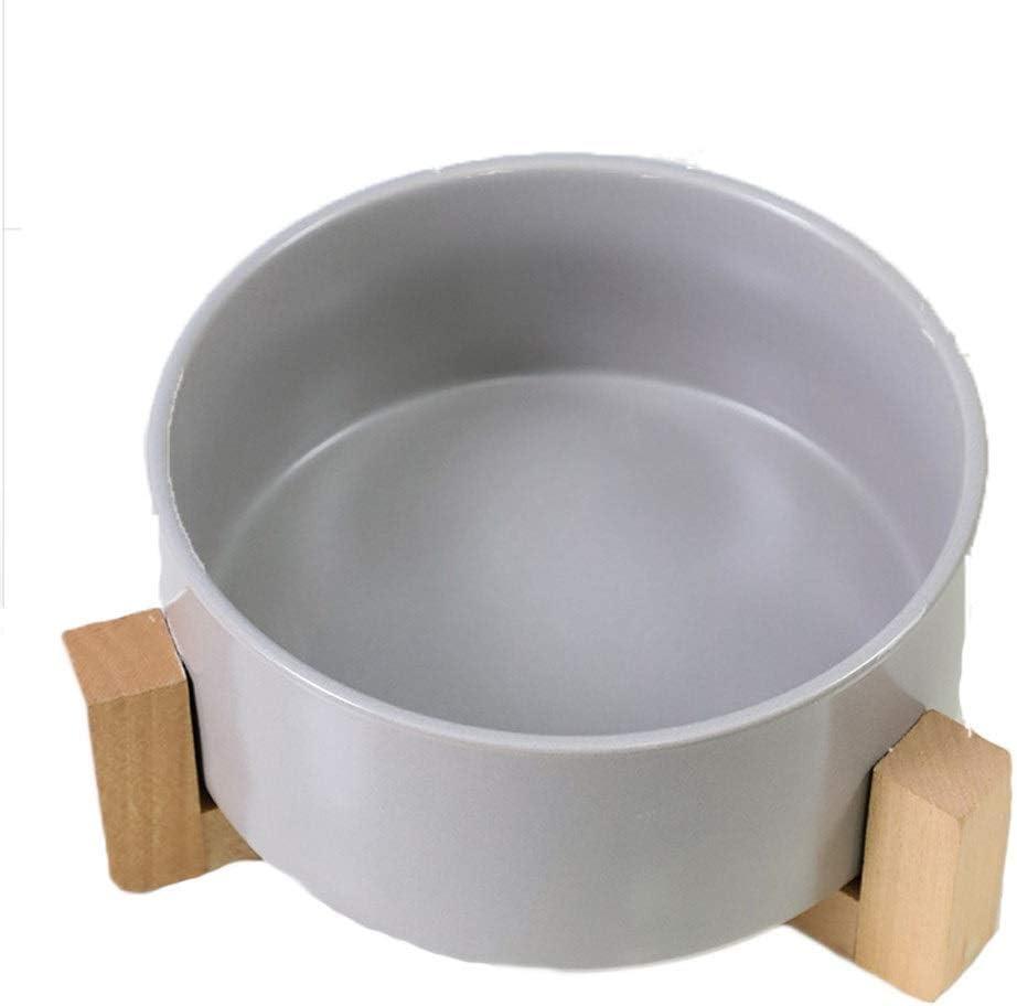 LiYL Automatico Tazón de Comida para Mascotas Cat Bowl Ceramic Protection Spine Tazón de Madera Tazón Doble Tazón Oblicuo Cat Tazón de arroz Tazón de Comida para Gatos Cat Supplies (Color : Gray)