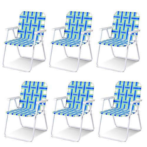 (Giantex 6 PCS Folding Beach Chair Portable Camping Steel Frame Lightweight Support 265 Lbs Lawn Webbing Chair (Bule) )