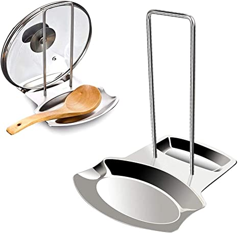 Practical Pot Pan Spoon Racks Holder Stainless Steel Rest Stand Kitchen Tools