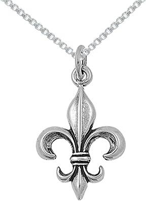 Sterling Silver Fleur-De-Lis Design Charm Pendant on a Box Chain Necklace