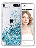 wlooo ipod touch case, iPod Touch 6 gen Case, ipod case, Glitter Liquid Quicksand Clear Transparent Flowing Soft TPU Bumper Silicone Phone Cover for iPod Touch 5 / iPod Touch 6-Blue