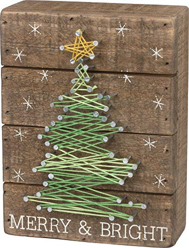 Primitives by Kathy Slat String Art Box Sign, Merry & Bright