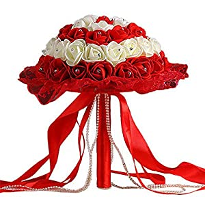 dezirZJjx Artificial Flowers Rhinestone Lace Bridal Bridesmaid Wedding Bouquet Artificial Rose Flowers Props - Red+White 33