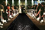 ShinyBeauty Black Runner for The Bride 4FTx55FT Sequin Aisle Wedding Isle Runner Outdoor Dark Black Carpet Runner for Party~N1.15