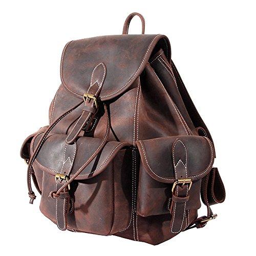 07d6944805280 Paonies Women Men Vintage Genuine Leather Backpack Travel School Bags  Causal Daypacks by Paonies (Image