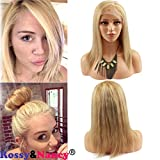 613 27 4 lace front wig - Rossy&Nancy 7A Brazilian Human Hair #27/613 Highlight Blonde Color Women's Short Straight Bob Heat Cosplay Party Full Lace Wigs for Women 14inch