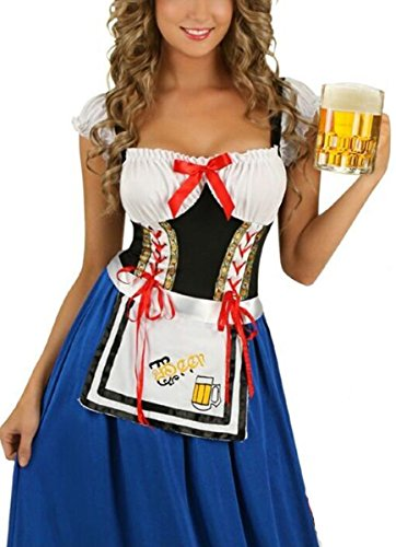 COSWE Women's German Beer Girl French Maid Holloween Outfit (Beer Maid Costumes)