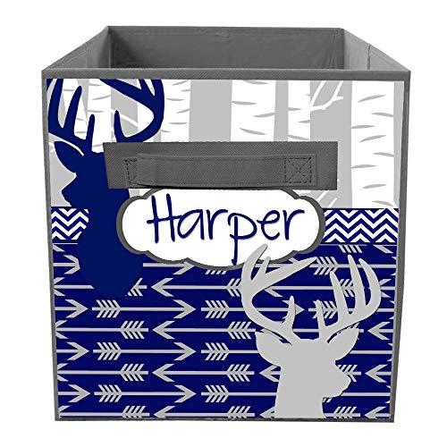 Toad and Lily Navy Grey Birch Tree Arrow Fabric Bin Kid's Personalized Bedroom Baby Nursery Organizer for Toys or Clothing FB0092 -