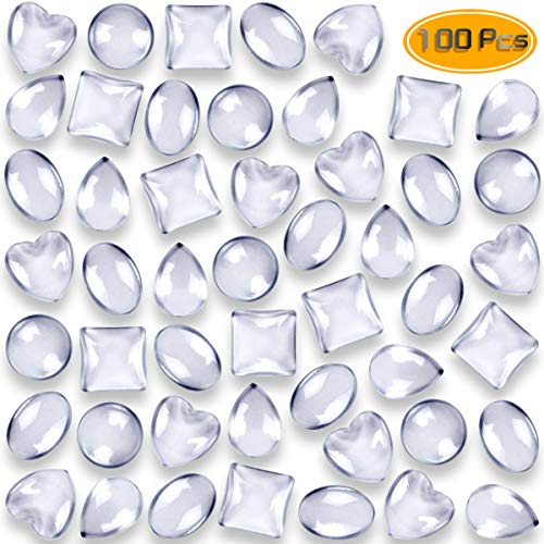 (Weoxpr 100pcs Glass Cabochons Clear Dome Tiles for Cameo Pendants Photo Craft Jewelry Making(Round, Oval, Square, Teardrop, Heart-Shape))