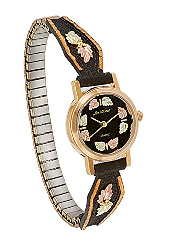 Landstroms Black Hills Gold Powder Coated Ladies Watch with 12K Gold Leaves