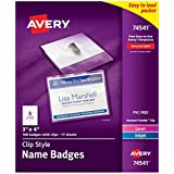 Avery Top Loading Clip Style Name Badges, Soft Plastic, 3 x 4 Inches, White, 100 Holders and 100 Ink Jet/Laser...