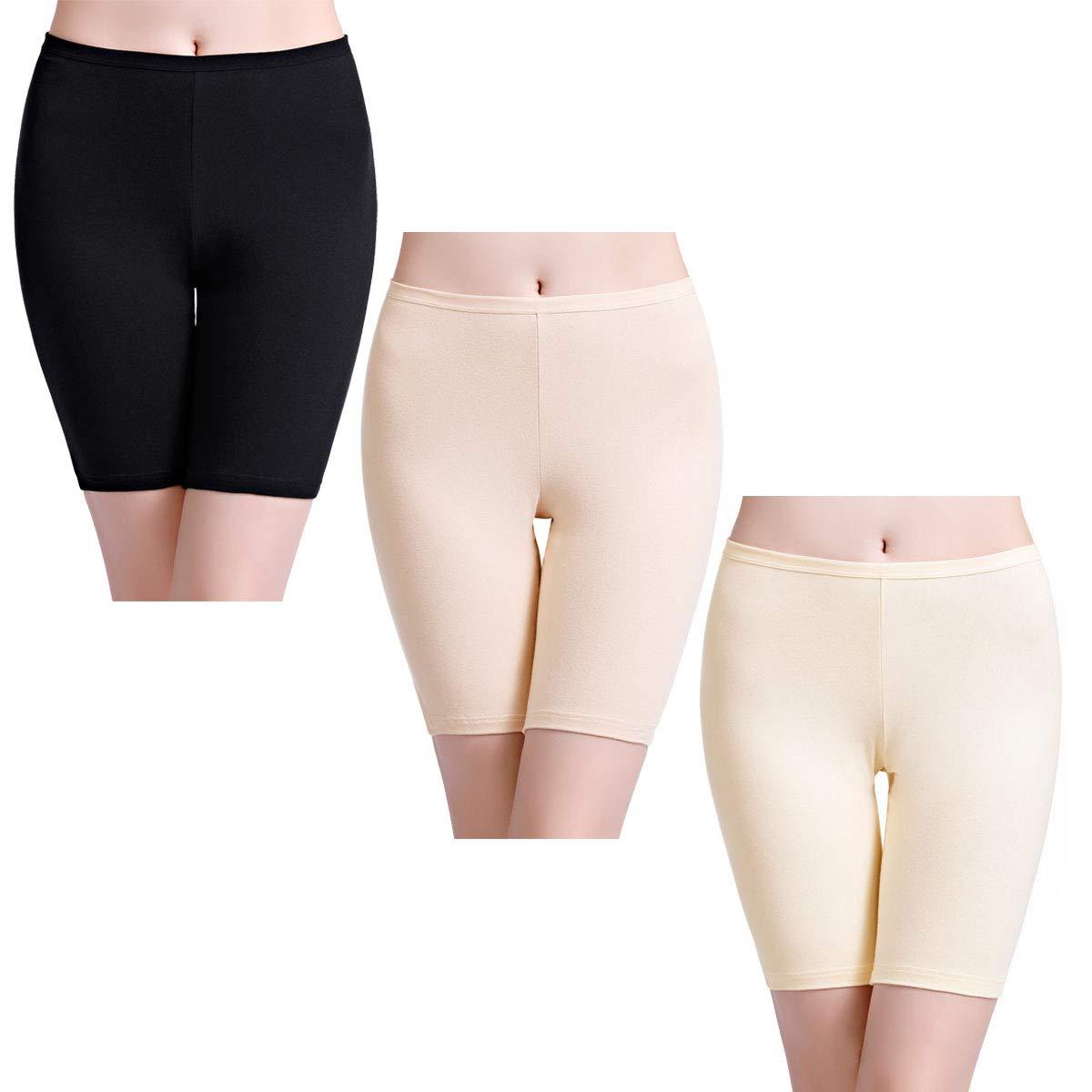 wirarpa Womens High Waisted Cotton Shorts Anti Chafing Underwear Under Dresses Gym Bike Yoga Leggings 3 Pack Size 9