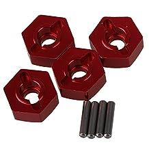 Mxfans 4pcs Aluminum Alloy 12x5mm Mount Wheel Hex Hub CC01-005 for TAMIYA CC01 4WD RC 1/10 Red