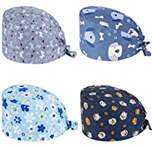 JEWPARK 4 Pcs Cute Printed Working Cap Adjustable Bouffant Hats for Women/Men