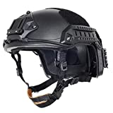 Lancer Tactical Large - X-Large Industrial ABS Plastic Constructed Maritime Helmet Adjustable Crown with 20mm Side Rail Adapter Velcro Padding NVG Shroud Bungee Retention (Black)