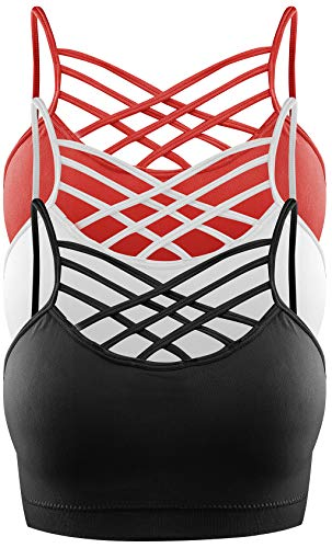 3 Pack Women's Seamless Wireless Triple Criss Cross Comfort Bralette with Removable Pads (Black, White and Fiery Red, X-Large) ()