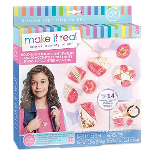 Make It Real - Gold & Glitter Accent Jewelry. DIY Necklace & Pendant Making Kit for Girls. Arts and Crafts Kit Guides Kids to Create Unique Gold and Glitter Pendants for Necklaces