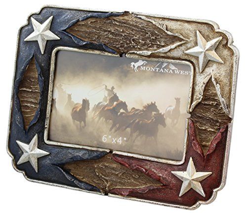 Patriotic Red White & Blue Picture Frame with Silver Star Accents