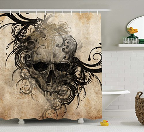 Ambesonne Tattoo Decor Shower Curtain by, Revenge Fierce Faced Skull Triplets with Romantic Detail of Rose Image, Fabric Bathroom Decor Set with Hooks, 70 Inches, Black and White