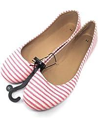 Women Casual Ballet Flats (11 B(M) US Coral-Stripes)