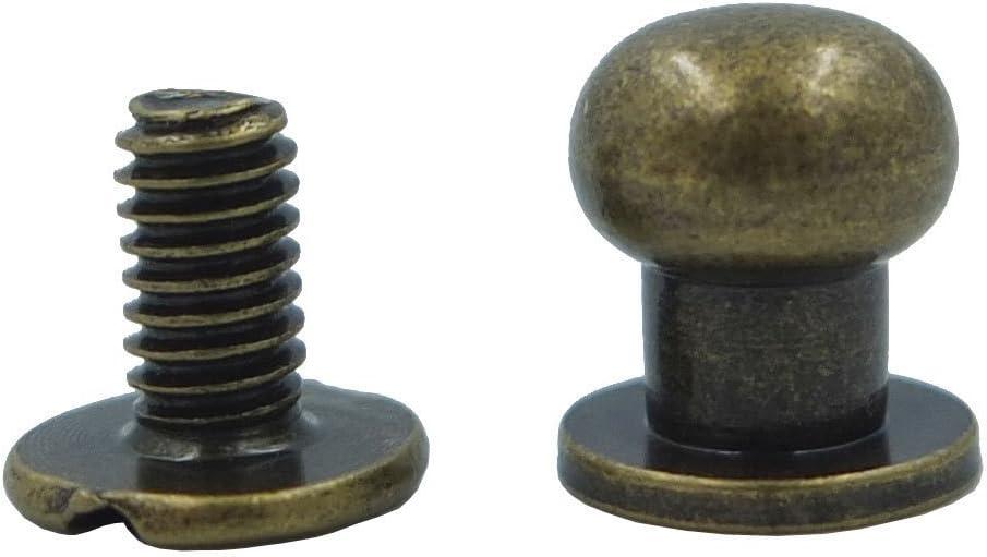Bluemoona 50 Sets Head Button 8mm 5//16 Brass Stud Screwback Screw Back Spots for Leather Rivet Nickel