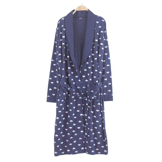 Bata De Primavera Otoño para Hombres Kimono De Algodón De Punto Solapas De Manga Larga Ropa De Dormir para El Hogar: Amazon.es: Ropa y accesorios