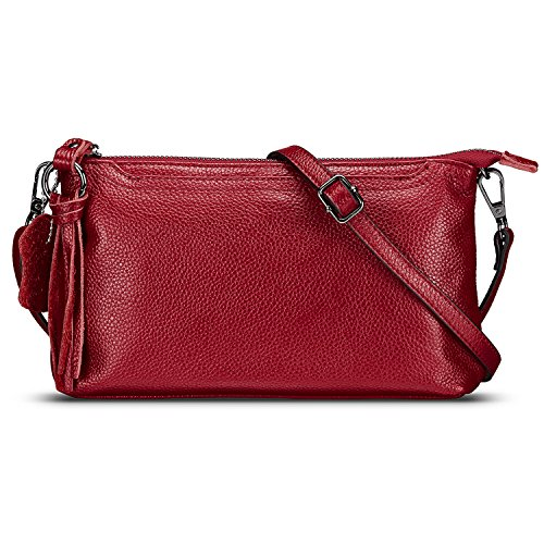 Lecxci Womens Leather Crossbody Zipper