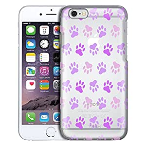 Apple iPhone 6 Plus Case, Slim Fit Snap On Cover by Trek Purple Paw Pattern Clear Case