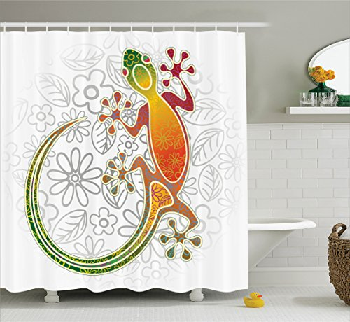 Asian Curtain (Batik Decor Shower Curtain by Ambesonne, Native Southeast Asian Common House Gecko Moon Lizard Tropical Monster Graphic Decor, Fabric Bathroom Decor Set with Hooks, 70 Inches, Multi)