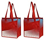 2 Piece Earthwise Insulated Grocery Bag - Large Hot Cold Thermal Shopping Tote w/zipper closure