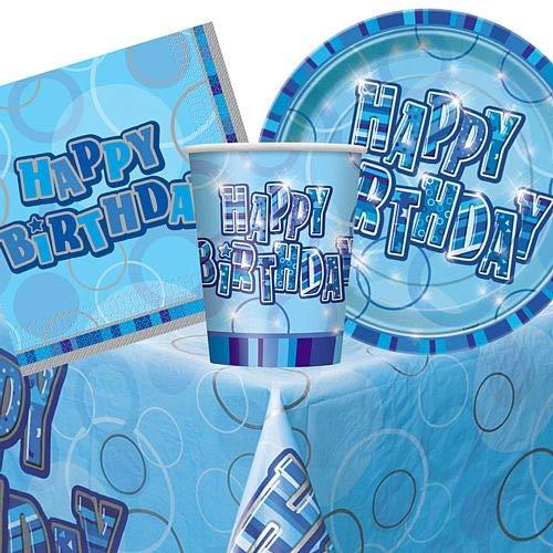 IdealWigsNet Set da Pranzo blu Birthday Glitz - per 8