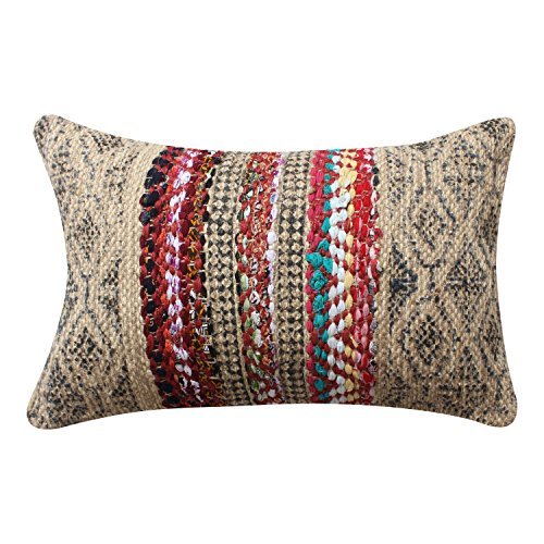 ThymeHome Indian Jute Hand Block Printed Hand Woven Indoor & Outdoor Pillow :- 100% Jute Decorative Accent Pillows 16X24 Inch Multicolor